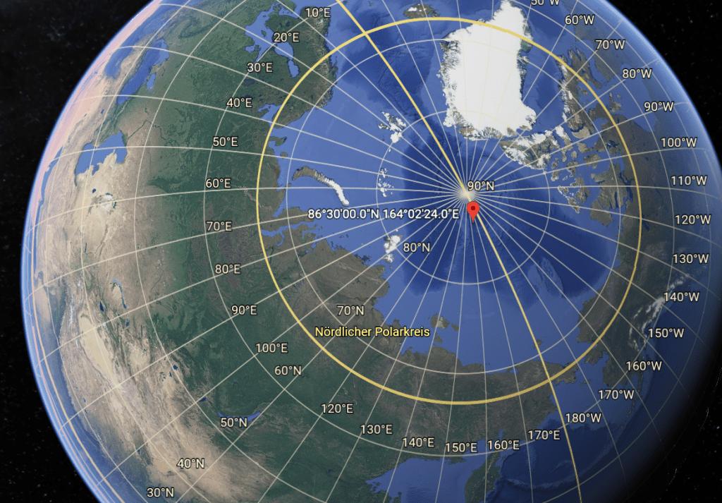 Der magnetische Nordpol auf Google Earth