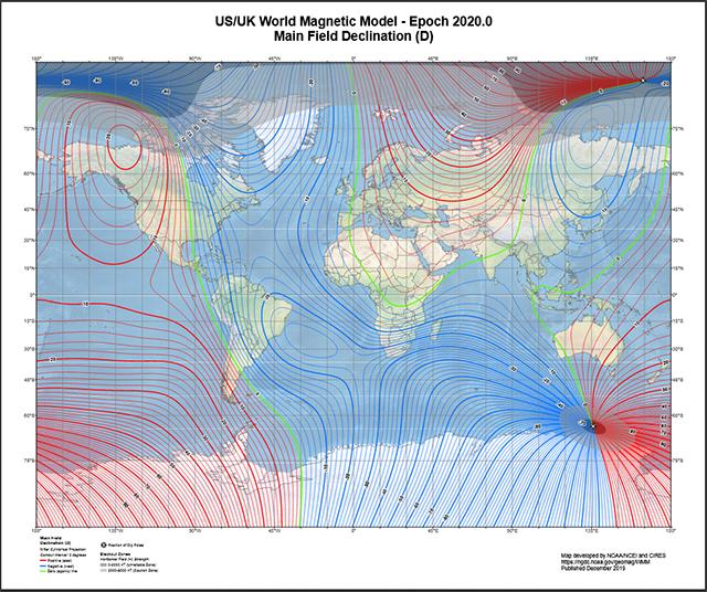 Karte des Magnetfeldes
